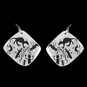 P19 MIDNIGHT MOMENTS PETROGLYPH  SIMPLE EARRINGS