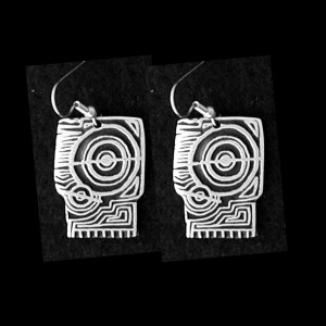 P58 SUNRISE ON THE RIVER PETROGLYPH  SIMPLE EARRINGS