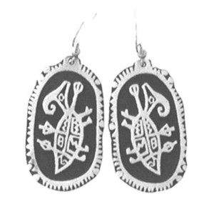 PE-108 THREE RIVERS NEW MEXICO PETROGLYPH SIMPLE EARRINGS